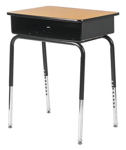 "Adjustable Height Open Front Desk with Laminate Top, 18"" x 24"" x 23-1/2"" - 30-1/2"" H"