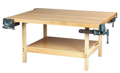 4-Station Hardwood Workbench with 4 Vises