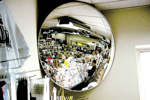 "Acrylic Safety/Security Mirror, Convex Round, 160° View, 17-1/8"" Diameter"