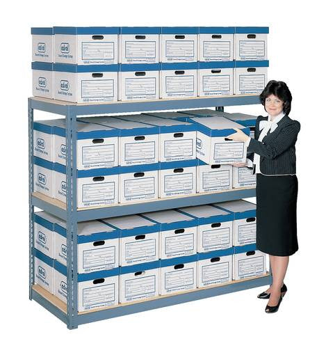 efficient file box storage rack with boxes holds 80 boxes on 4 rh atd com Document Storage Racks Shelves Bankers Storage File Box Shelves