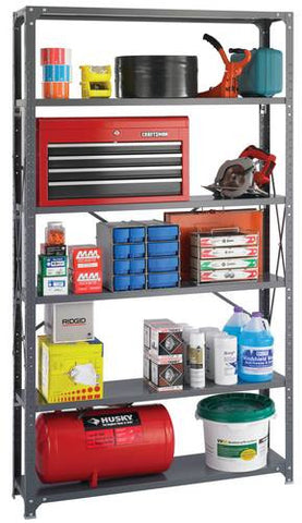 "Heavy-Duty Industrial Steel Shelving, 48"" W x 12"" D x 85"" H"