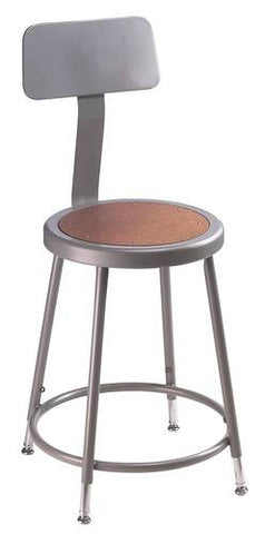 "Stool with Backrest, Round Masonite Seat, 19"" - 27"" Adjustable Height"