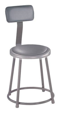 "Stool with Backrest, Round Padded Seat, 18"" Fixed Height"