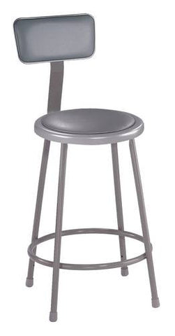 "Stool with Backrest, Round Padded Seat, 24"" Fixed Height"