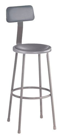 "Stool with Backrest, Round Padded Seat, 30"" Fixed Height"