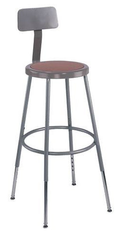 "Stool with Backrest, Round Masonite Seat, 25"" - 33"" Adjustable Height"