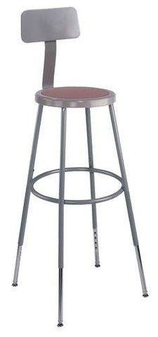 "Stool with Backrest, Round Masonite Seat, 31"" - 39"" Adjustable Height"