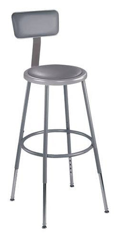 "Stool with Backrest, Round Padded Seat, 25""-33"" Adjustable Height"