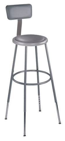 "Stool with Backrest, Round Padded Seat, 31""-39"" Adjustable Height"