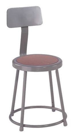 "Stool with Backrest, Round Masonite Seat, 18"" Seat Height"