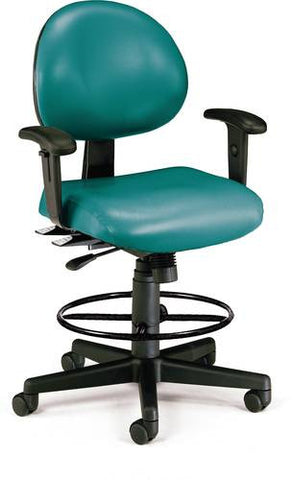 Adjustable 24-Hour High-Base Stool With Arms, Anti-Microbial Vinyl Upholstery