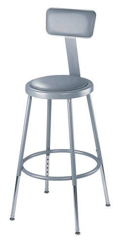 "Stool with Backrest, Round Padded Seat, 19""-27"" Adjustable Height"
