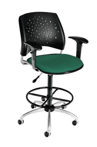 """Stars"" Swivel Stool with Arms, Fabric Seat"