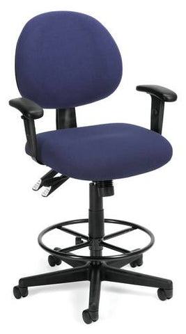 Adjustable 24-Hour High-Base Stool With Arms, Fabric Upholstery
