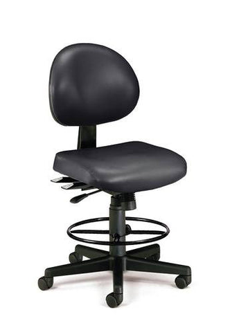 Adjustable 24-Hour High Base Stool, Anti-Microbial Vinyl Upholstery