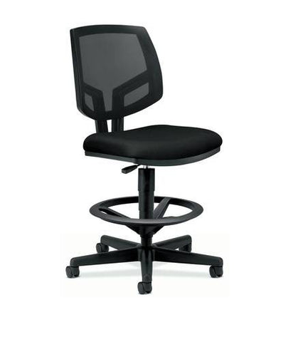 Volt® Task Stool without Arms, Standard Fabric Seat, Black Mesh Back