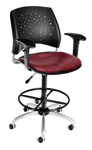 """Stars"" Swivel Stool with Arms, Vinyl Seat"