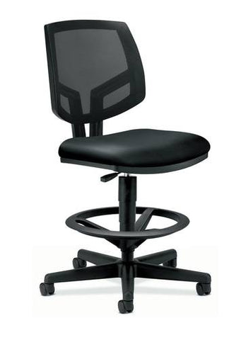 Volt® Task Stool without Arms, Black Leather Seat, Black Mesh Back