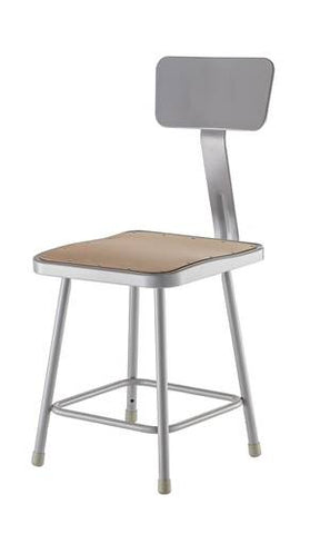 "Stool with Backrest, Square Masonite Seat, 18"" Seat Height"