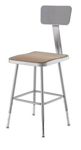 "Stool with Backrest, Square Masonite Seat, 19"" - 27"" Adjustable Height"