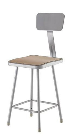 "Stool with Backrest, Square Masonite Seat, 24"" Seat Height"
