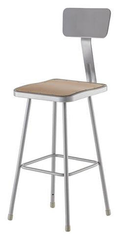 "Stool with Backrest, Square Masonite Seat, 30"" Seat Height"