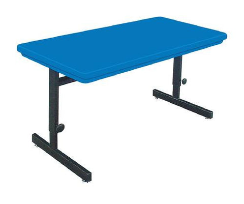 "Colorful Blow-Molded Adjustable Height Computer Table, 72"" W x 30"" D x 21""-29"" H"