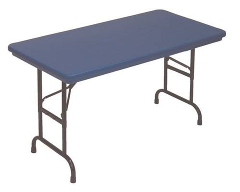 "Bright 'N Light Blow-Molded Folding Table, 30"" W x 60"" L x 22"" -32"" Adjustable Height"
