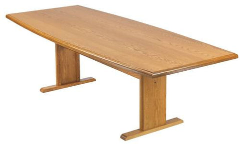 "Boat Shape Conference Table with Trestle Base, 120"" x 46"" x 38"""