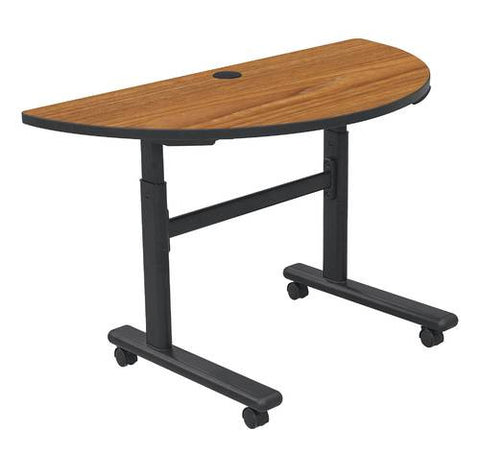 "Flipper Height-Adjustable Table, 48"" W x 24"" D Half-Round"