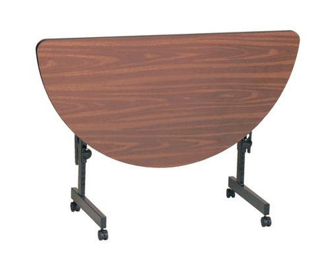 "Deluxe Adjustable Height Flip Top Table, High-Pressure Laminate Top, 24"" x 48"" Half Round"