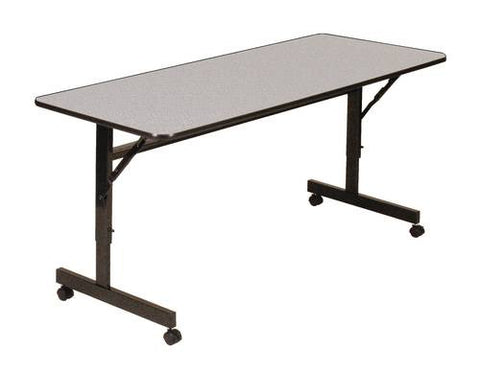 "Econoline Adjustable Height Flip Top Table, Low-Pressure Laminate Top, 24"" x 48"" Rectangular"