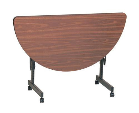 "Econoline Adjustable Height Flip Top Table, Low-Pressure Laminate Top, 24"" x 48"" Half Round"