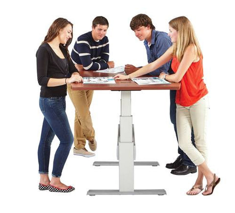 "Elegante XT Premium Electric Height-Adjustable Collaboration Table, Boat Shape, 72"" W x 42"" D"