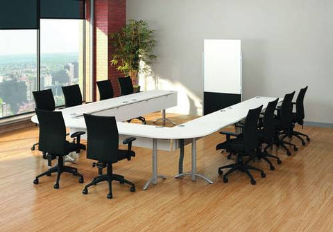 "Two Quarter Round Worksurfaces Shown with Five 60"" x 24"" Tables (413582)"