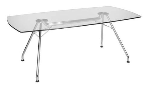 "Glass Top Conference Table, 77"" W x 39"" D"