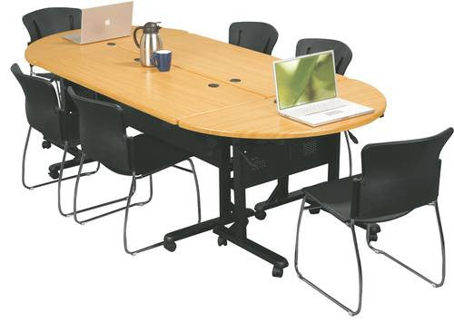 Create A Conference Table With Rectangular Tables Back To Back And  Half Round