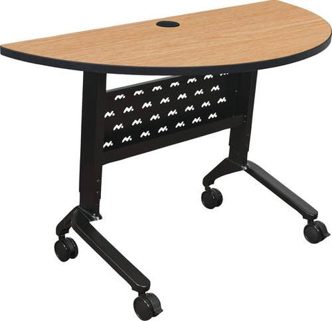 "Nido Sit/Stand Height Adjustable Flip-Top Table, Half-Round, 48"" x 24"""