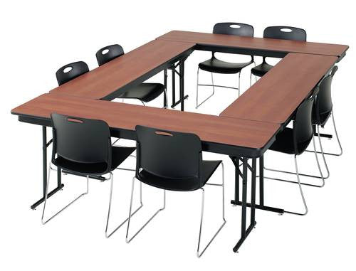 Folding Seminar Training Table X Particle Board Core Top - 18 x 96 training table