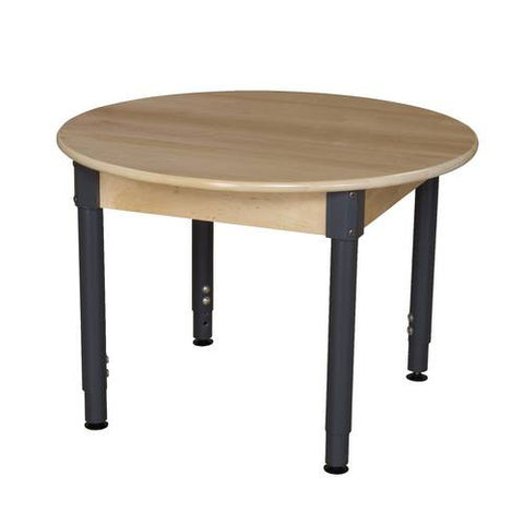 "Solid Birch Hardwood Table, Birch Hardwood Top, 36"" Round, Adjustable Height Metal Legs"