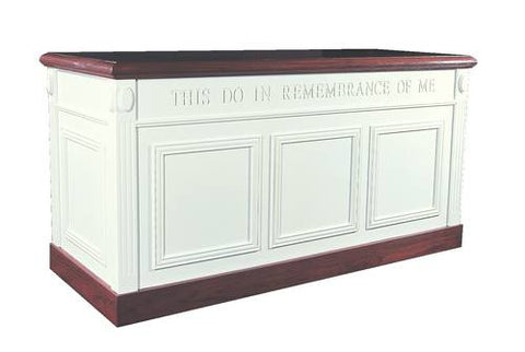 "Colonial Scroll Cap Style Closed Communion Table, 60"" W x 24"" D x 32"" H"