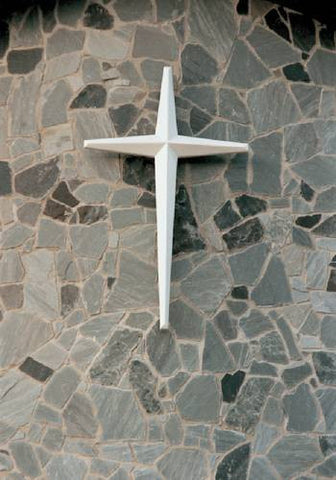 "Fiberglass Wall-Mounted Cross, Star Shape, Unlighted, 18' H x 6' 10"" W"