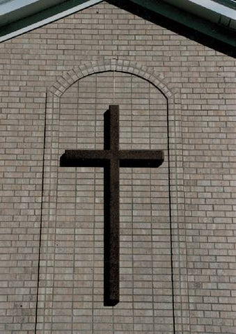 "Fiberglass Wall-Mounted Cross, Square Shape, Unlighted, 6' H x 3' 5"" W"