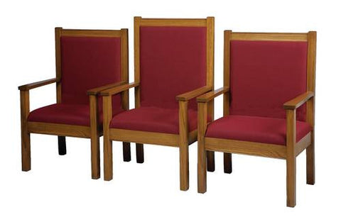 Model 462104-GA Center Pulpit Chair shown with 2 each Model 462103-GA Side Pulpit Chairs.