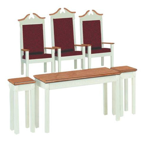 Models shown: 2 each 461254-GA Side Pulpit Chairs, 461763-GA Center Pulpit Chair, 2 each 462166 Flower Stands, 462180 Communion Table.