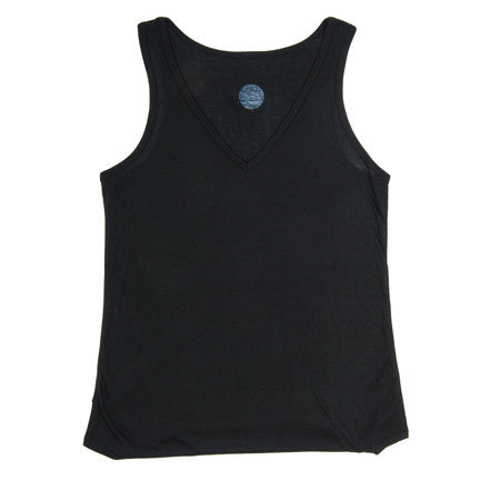 Black Ladies Flowy V-Neck Tank Top