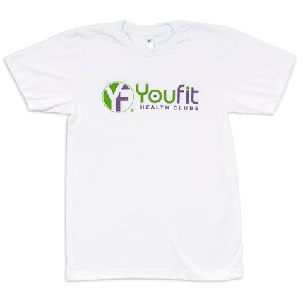 White shirt with purple and green youfit logo