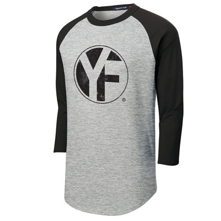 "Grey and black 3/4"" sleeve baseball Tee"