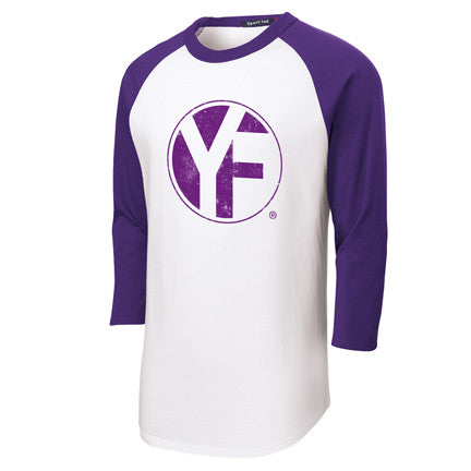 "Purple and white 3/4"" sleeve baseball Tee"