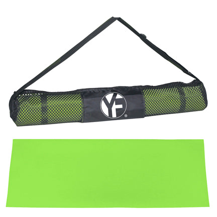 Green yoga mat with black carrying sleeve